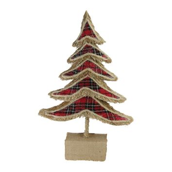 "17"" Red Plaid Country Rustic Tree Christmas Table Top Decoration"