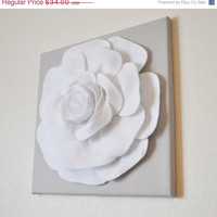 "MOTHERS DAY SALE Rose Wall Hanging -White Rose on Solid Light Gray 12 x12"" Canvas Wall Art- 3D Felt Flower"