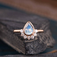 Moonstone Engagement Ring Pear Shaped Rose Gold  Ring Bridal Diamond Half Halo Bezel Set Women Antique Ring Anniversary Gift Drop Tear