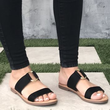 Addison Slip On Slide Sandals In Black