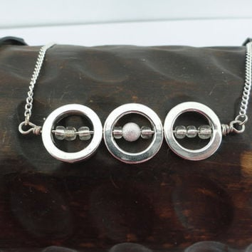 Three Circles Silver Chain Necklace, Karma Necklace, Circle Necklace, Eternity Necklace