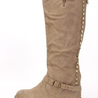 Taupe Studded Knee High Riding Boots