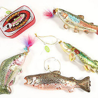 Lot of 5 Glass Sport Fish Ornaments Holiday Christmas OWC Tree Trout Salmon Bass