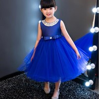 vestidos Royal blue Kids Girls Party Wedding flower girl Dress Baby Girl Dress Bead Bow Prom Formal Dress First Communion Gown