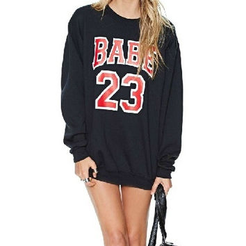 Winter Autumn 2014 Casual Loose Pullover Sport Woman Clothes Letter Number 2 3 Printed Sweatshirt Hoodies Tracksuits Women Hoody = 1932344836