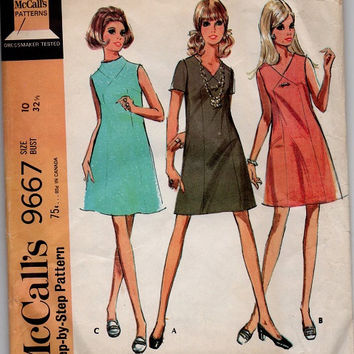 Retro Mod Mad Men Style Fashion McCall's 60s Sewing Pattern A-line Mini Dress Paneled Front High Neck Bust 32