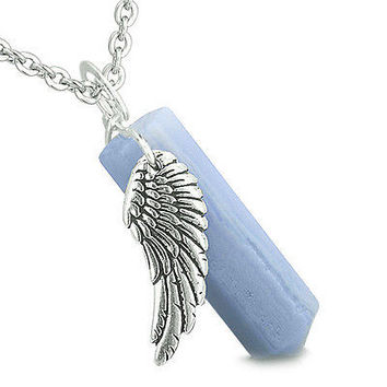 Amulet Angel Wing Archangel Uriel Magic Wand Crystal Point Blue Lace Agate Posit