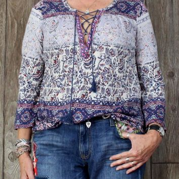 Lucky Brand Hippy Boho Top M size Blue Pink Floral Womens Blouse