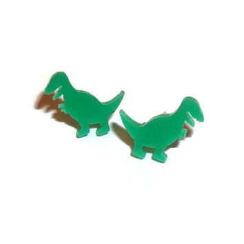 T-Rex Earrings, Cute Dinosaur Stud Earrings, Kawaii Green Tiny Laser Cut Studs