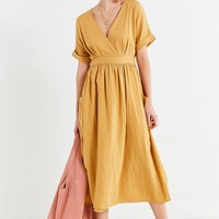 UO Gabrielle Gold Linen Midi Wrap Dress | Urban Outfitters