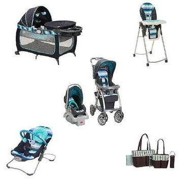 Baby Gear Bundle, Travel System, Play Yard, Bouncer, and Diaper Bag