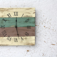Beach House style PALLET WOOD Clock...ReCycled wood...distressed, aged. Customize :) Wedding gift. Housewarming.