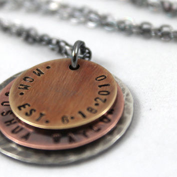 First time Mother Gift, Personalized New Mom Necklace, First time Mom Gift, For Mom, Custom Necklace, Oxidized Jewelry, Gift for New Mother