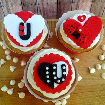 Cute Valentines Fondant Cupcake, Cake, Cookie Toppers. Set of 12 (one dozen) 4 of each