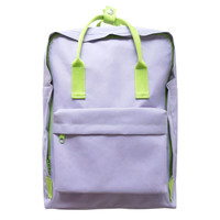 Pastel Purple With Neon Green Backpack by U-PICK