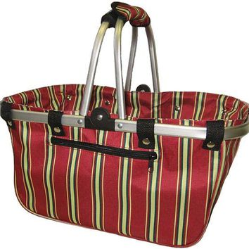"JanetBasket Large Aluminum Frame Basket-18""X10""X9.5"" Red Stripes"