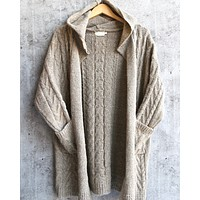 knit open cardigan with hoodie - mocha
