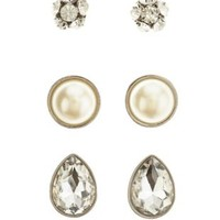 Silver Rhinestone & Pearl Stud Earrings - 3 Pack by Charlotte Russe