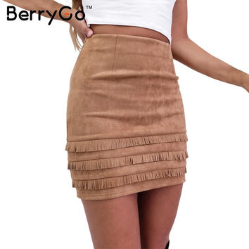 BerryGo Autumn tassel suede leather pencil skirt Winter chic high waist slim mini women skirt Vintage 90's bodycon short skirts