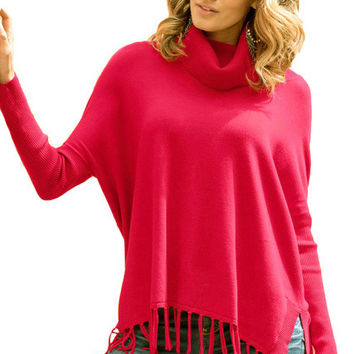 2016 New Winter Women's Fashion Red Gray Black Turtleneck Fringe Hemline Tunic Sweater LGY27632
