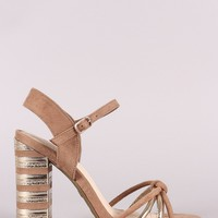 Bamboo Suede Knotted Straps Striped Chunky Heel