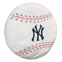 """Yankees  15""""""""x15""""""""x2"""""""" Embroidered Baseball-Shaped Plush Pillow with Applique"""