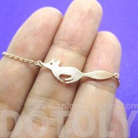 Running Fox Shaped Silhouette Charm Bracelet in Rose Gold   Animal Jewelry