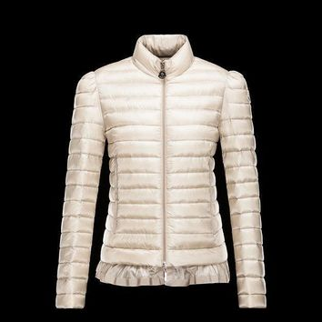 Moncler Nesea Quilted Puffer Coat Trim