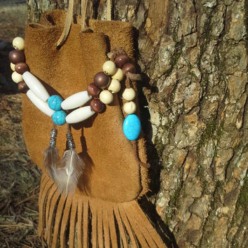 Tan leather bag, fringed leather bag, Native, American, style,  rune, leather, boho bag, bohemian bag, gypsy, medicine bag, foraging, pouch