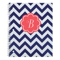 Office Depot Brand Fashion Notebook Personalized Chevron 8 12 x 10 12 College Ruled 160 Pages 80 Sheets CoralNavy by Office Depot