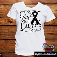 Black Ribbon Find A Cure Shirts ( Skin Cancer and Melanoma)