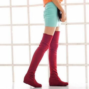 VONGB5 Winter Flat Heel PU Over The Knee women's Boots Shoes (Size: 6.5, Color: Brown) = 1946781124