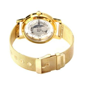 Woman Ladies Phoenix Automatic Mechanical Hollow-out Stainless Steel Wrist Watch