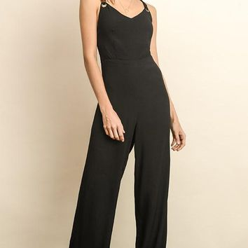 Cross Back Jumpsuit, Black