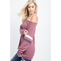 Brushed Cashmere Feel Boatneck Top - Red Chambray