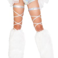 "Pair 100"" Space Hologram Leg Strap with Attached Garter"
