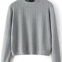 Grey Long Sleeve Rivet Crop Sweatshirt