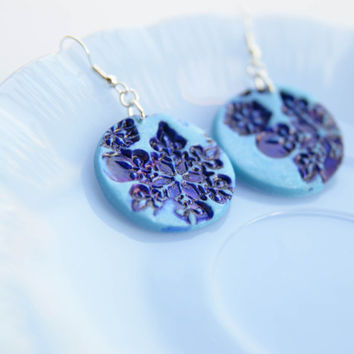 Blue Snowflake earrings - stamped christmas polymer jewelry