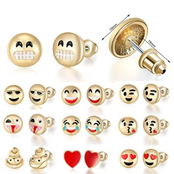 Hot Creative Expression Pack Emoji Earrings Women Studs Earrings Cute Cartoon Earring ForWomen Girls Jewelry Best Friend Gift