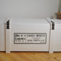 """XL """"Cigars"""" trunk coffee table   vintage look cargo freight crate   crate coffee table   side board   storage chest   box   bench   wooden"""