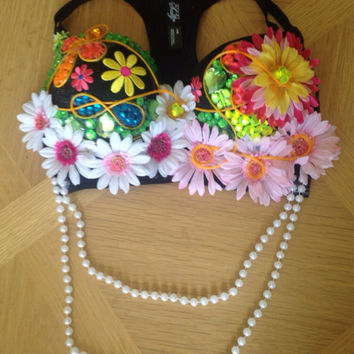 Custom El Wire LED Light Up Rave Bra Bejeweled Daisy Flower Rave EDC EDM Ultra Tomorrowland