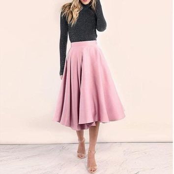 DCCKON3 Saias 2018 Blush Pink Tea Length Satin Skirt For Yong Lady Zipper Elegant Pleated Skirts Women Custom Made Female Bottom Winter