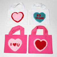 Valentines Day Gift Bags, Valentine Party Favor Bags,Set of 4 Hear Goodie Bags, Conversation Heart Treat Bags