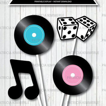 Centerpiece Printable, 50s Rock and Roll, Birthday, Party Decorations, DIY, Favors, Retro, Dinner, Ice Cream Parlor INSTANT DOWNLOAD