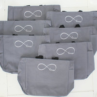 Infinity Symbol Tote Bags Custom Embroidery Personalized Gift