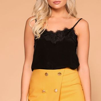 Amber Black Satin Lace Cami