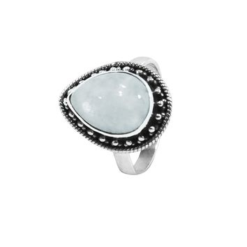 Aurora Moonstone Sterling Silver Ring