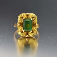 Vintage 18K Gold Leaf 2 Carat Emerald Ring