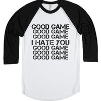Good game I hate you baseball tee t shirt-White/Black T-Shirt
