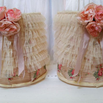Romantic lampshade set recycled barrel shades adorned in layered lace tea stained fabric and roses Anita Spero